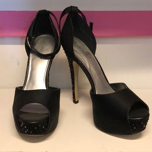 Black Satin Open Toe Rhinestone Heels
